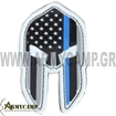 PVC Thin Blue Line Spartan Helmet PatchesPVC Thin Blue Line Spartan Helmet Patches
