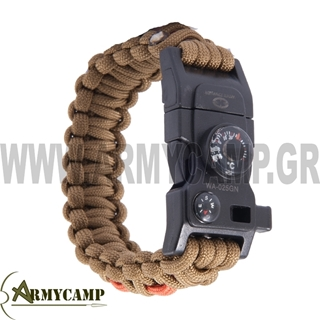 survival-bracelet-COYOTE-WITH-ARMOUR-GREECE-EBAY-WHISTLE-MULTI-TOOL-THERMOMETER-COMPASS