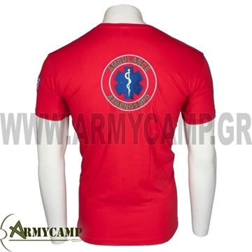 ΜΑΚΟ μπλουζακι κοντομανικο ΙΔΙΩΤΙΚΑ ΑΣΘΕΝΟΦΟΡΑ AMBULANCE κοκκινο διασωστης